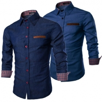 Fashion Solid Color Lapel Long Sleeve Single-breasted Men's Shirt