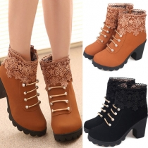 Elegant Lace Spliced Rhinestone Round Toe Side Zipper High-heeled Martin Boots