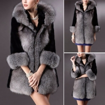 Fashion Fur Collar Long Sleeve Hooded Warm Coat For Women