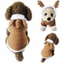 Cute Style Contrast Color Single-breasted Hooded Coat For Dogs