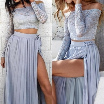 Sexy Off Shoulder Long Sleeve Lace Crop Tops + High-slit Maxi Skirt Two-piece Set