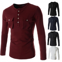 Casual Style Solid Color Front Buttons Down Round Neck Long Sleeve Men's T-shirt