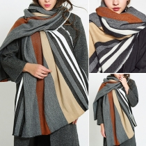 Stylish Contrast Color Striped Scarf Shawl For Women