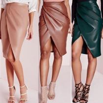 Sexy Solid Color Front Crossover Slit Hem Slim Fit PU Bust Skirt