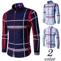 Fashion Casual Printed Lapel Long Sleeve Single-breasted Men's Shirt