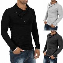 Fashion Solid Color Long Sleeve Oblique Buttons Slim Fit Men's T-shirt