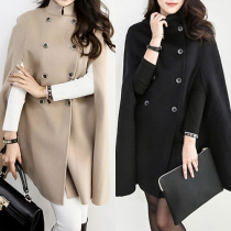 Elegant Solid Color Double-breasted Cape-style Woolen Coat