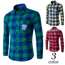 Fashion Long Sleeve POLO Collar Men's Checked Shirt