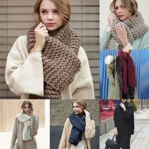 Fashion Solid Color Warm Knit Scarf