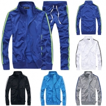 Fashion Contrast Color Long Sleeve Men's Sports Suit