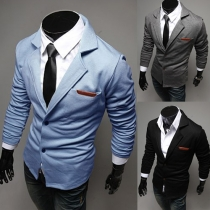 Fashion Solid Color Long Sleeve Slim Fit Men's Blazer