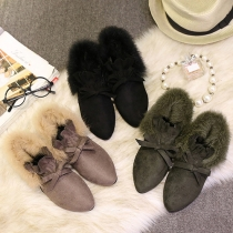 Fashion Casual Pointed Toes Flock Bowknot Shoes