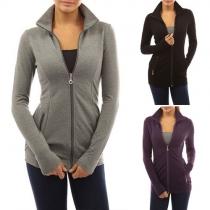 Fashion Solid Color Long Sleeve Stand Collar Sweatshirt Coat