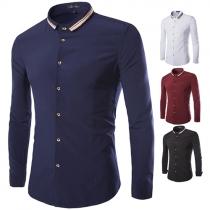 Fashion Solid Color Long Sleeve POLO Collar Men's Shirt