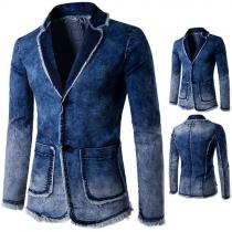 Distressed Style Long Sleeve Lapel Men's Denim Coat Blazer