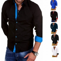 Fashion Contrast Color Long Sleeve Men's Shirt