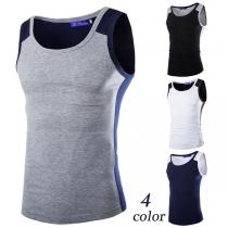 Fashion Contrast Color Round Neck Slim Fit Men's Tank Top