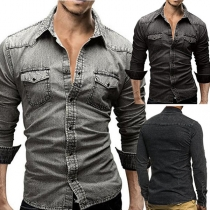 Retro Style Long Sleeve POLO Collar Men's Denim Shirt