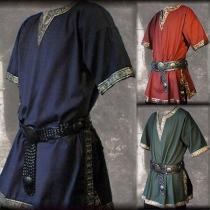 Ethnic Style Short Sleeve V-neck Tang Dynasty Men's Top