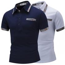 Fashion Plaid Spliced Short Sleeve POLO Collar Men's T-shirt
