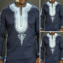 Ethnic Style Long Sleeve V-neck Printed Men's Top