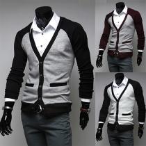 Fashion V-neck Contrast Color Long Sleeve Slim-fit Knit Cardigan for Men