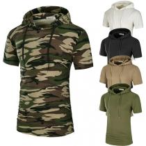 Fashion Short Sleeve Hooded Slim Fit Men's T-shirt