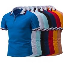 Fashion Contrast Color Short Sleeve POLO Collar Men's T-shirt