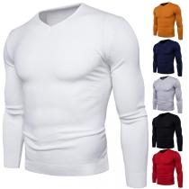 Fashion Solid Color Long Sleeve V-neck Slim Fit Men's Knit Top