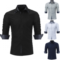 Fashion Contrast Color Long Sleeve POLO Collar Slim Fit Men's Shirt