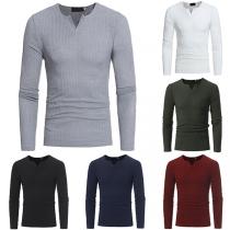 Fashion Solid Color Long Sleeve V-neck Men's Knit Top