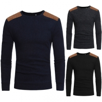 Fashion Imitation Suede Spliced Long Sleeve Round Neck Men's Knit Top