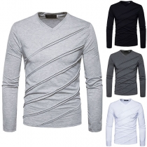 Simple Style Long Sleeve V-neck Solid Color Men's T-shirt