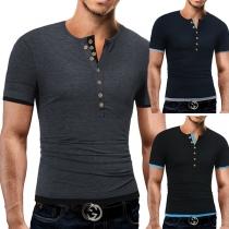 Fashion Contrast Color Short Sleeve V-neck Men's T-shirt