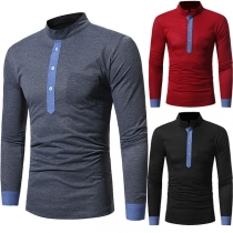 Fashion Contrast Color Long Sleeve Stand Collar Men's T-shirt
