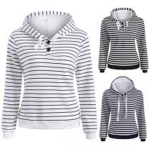 Fashion Long Sleeve Striped Hoodie