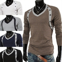 Fashion Long Sleeve V-neck Double-breasted Men's T-shirt