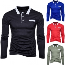 Fashion Contrast Color Long Sleeve POLO Collar Men's T-shirt