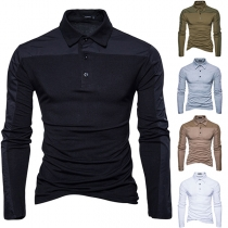 Fashion Contrast Color Long Sleeve POLO Collar Slim Fit T-shirt for Men