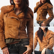 Fashion Solid Color Long Sleeve Oblique Zipper Warm Jacket