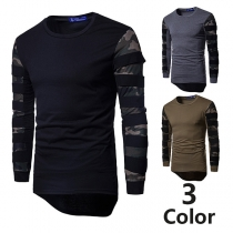 Fashion Camouflage Printed Spliced Long Sleeve Irregular Hem Men's T-shirt