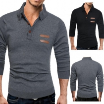 Fashion Solid Color Long Sleeve POLO Collar Men's Top