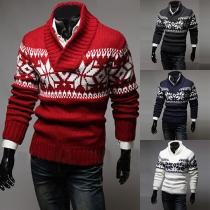 Fashion Snowflake Pattern Long Sleeve V-neck Men's Sweater