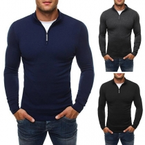 Fashion Solid Color Long Sleeve High Neck Slim Fit Men's Knit Top