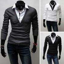 Fashion Contrast Color Contrast Color Mock Two-piece Men's T-shirt