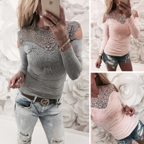 Sexy Off-shoulder Long Sleeve Round Neck Lace Spliced T-shirt (It falls small)