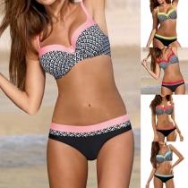 Sexy Contrast Color Printed Push-up Bikini Set