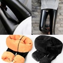 Fashion High Waist Plush Lining PU Leather Pants(It falls small)