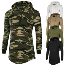 Casual Style Long Sleeve Slim Fit Hooded Men's T-shirt