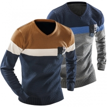 Fashion Contrast Color Long Sleeve V-neck Men's Knit Top